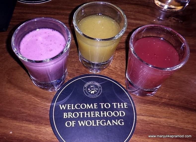 Kokum, Jalipenos, Jamun shots, Wolfgang and Company. Delhi