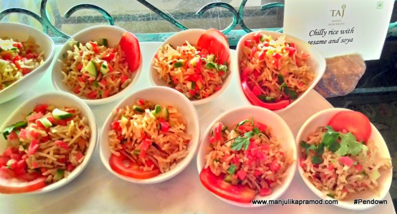 Chilly rice with sesame and soya
