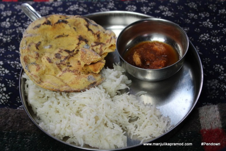 Ghee and jaggery, rice and Makke ki roti