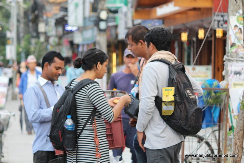 Eating in Pokhara in Nepal