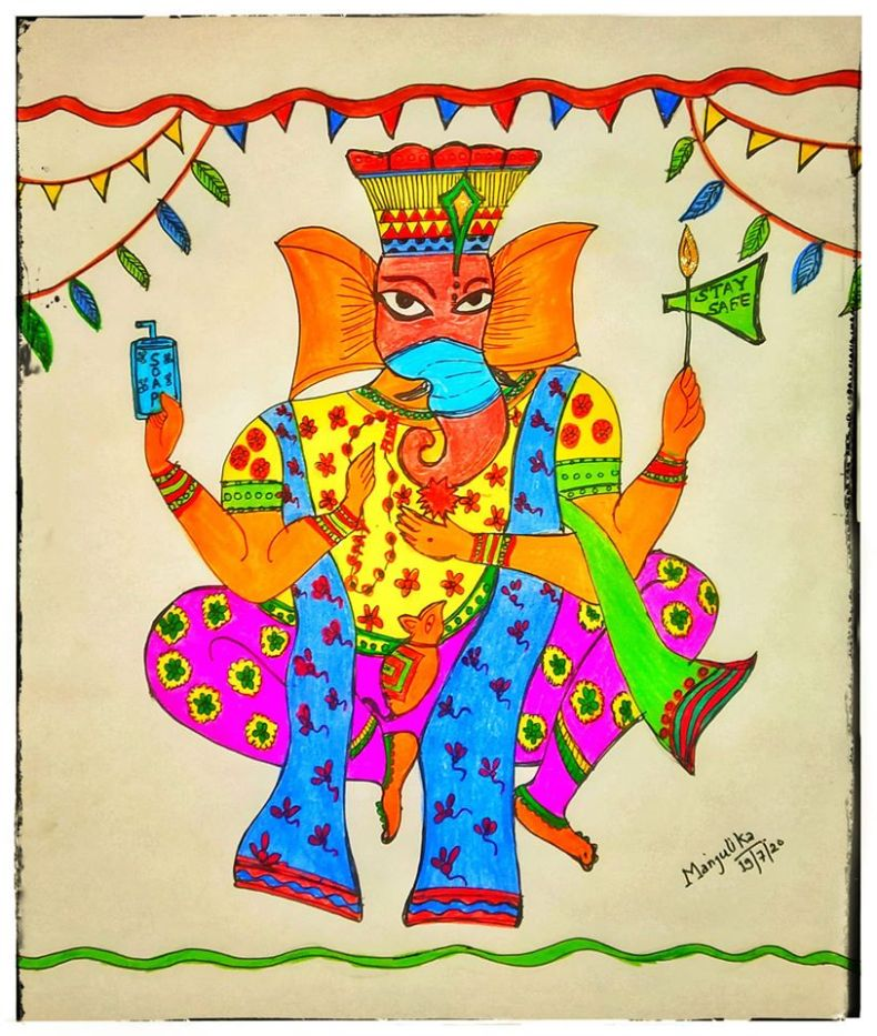 Art showing Ganesh Chaturthi 2020