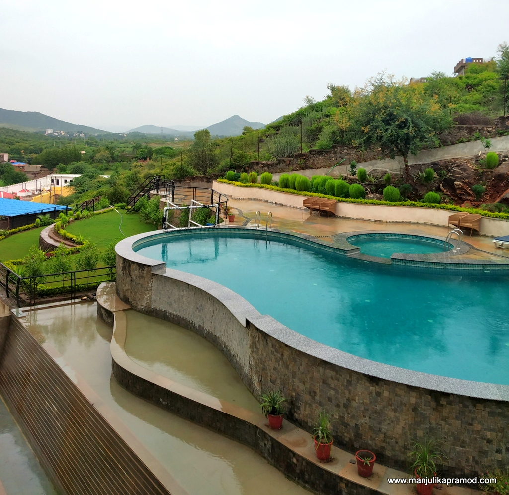 Swimming pool with a fort view