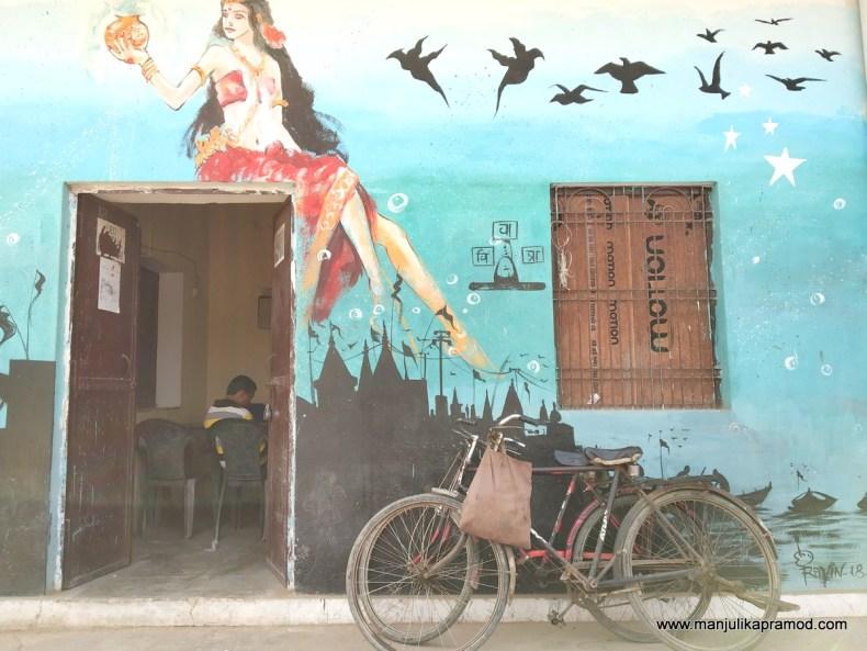 Wall art on houses in Varanasi