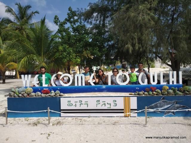 Welcome to Gulhi Island signboard.