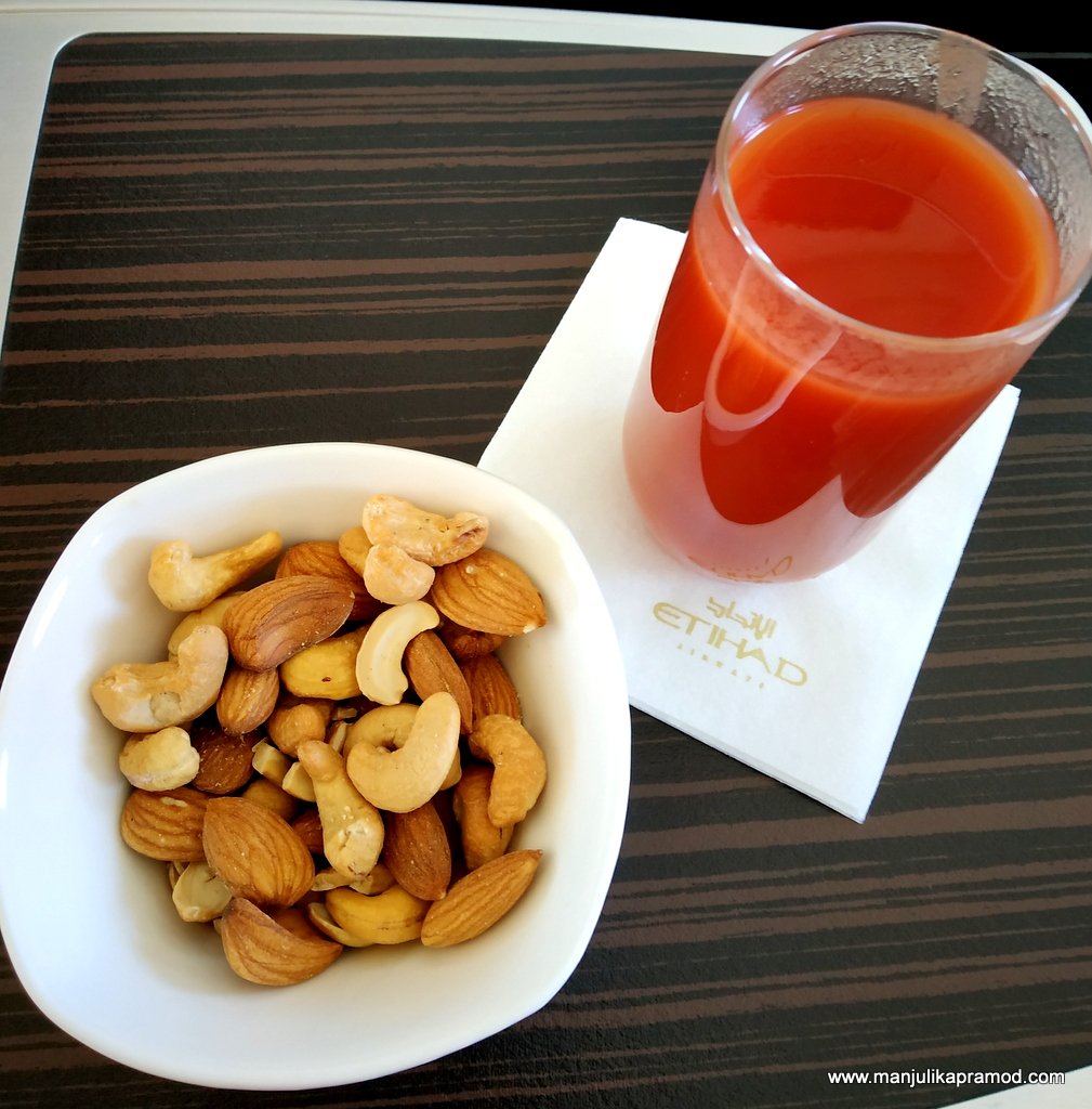 Nuts and tomato juice in flight