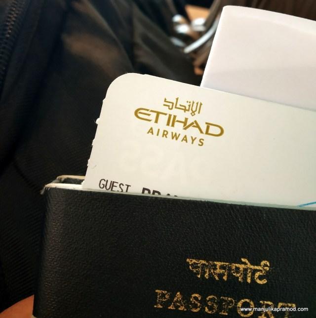Etihad Airways boarding pass