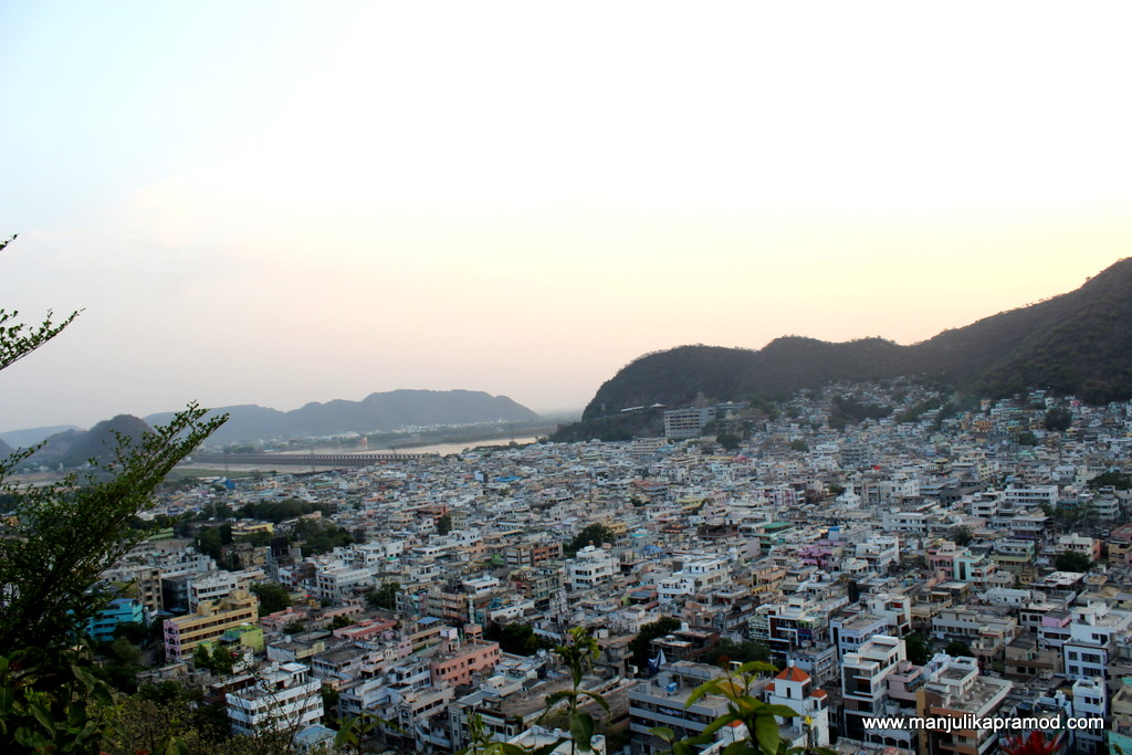 The birds eye view of the city of Vijayawada