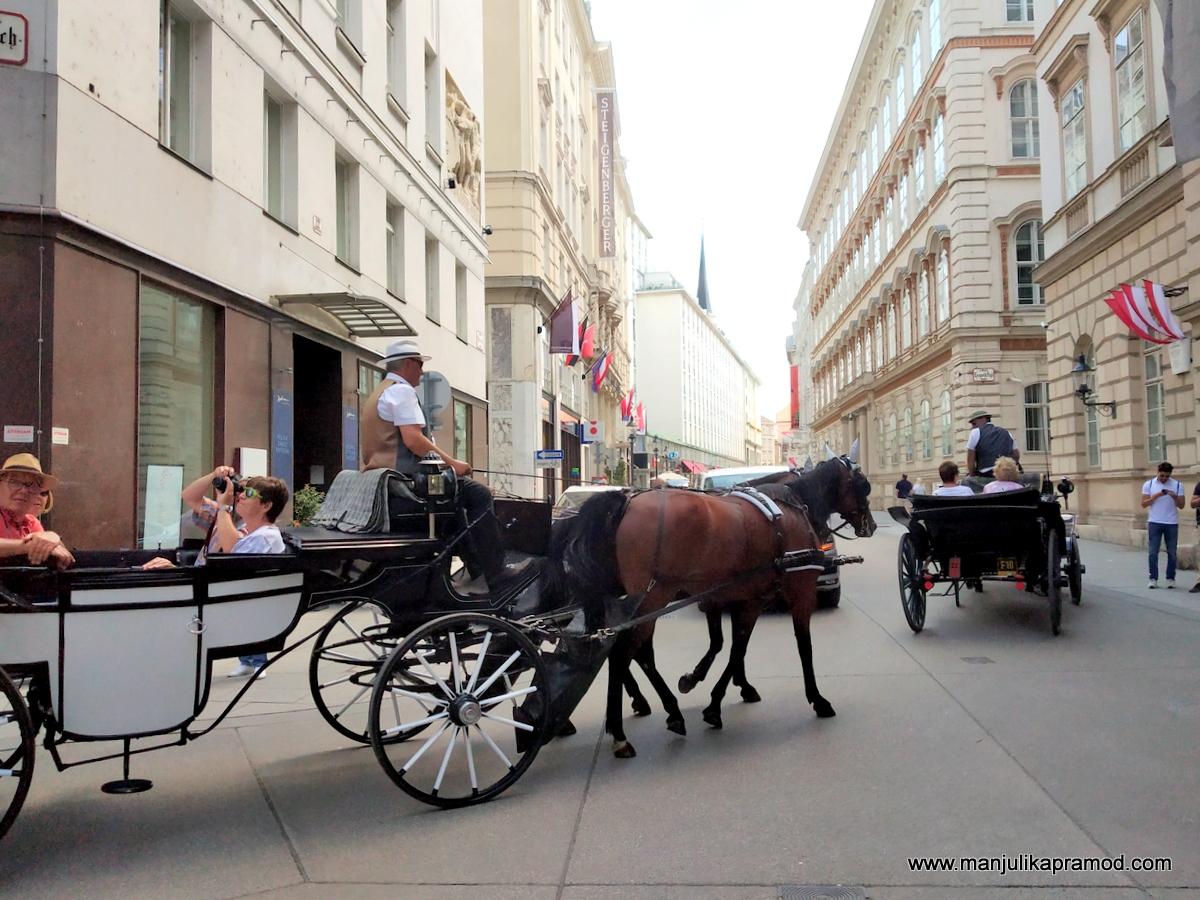 Horse drawn cabs in Vienna