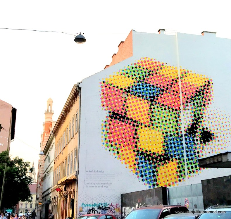 Rubic's Cube - One of the most famous street art works in Budapest
