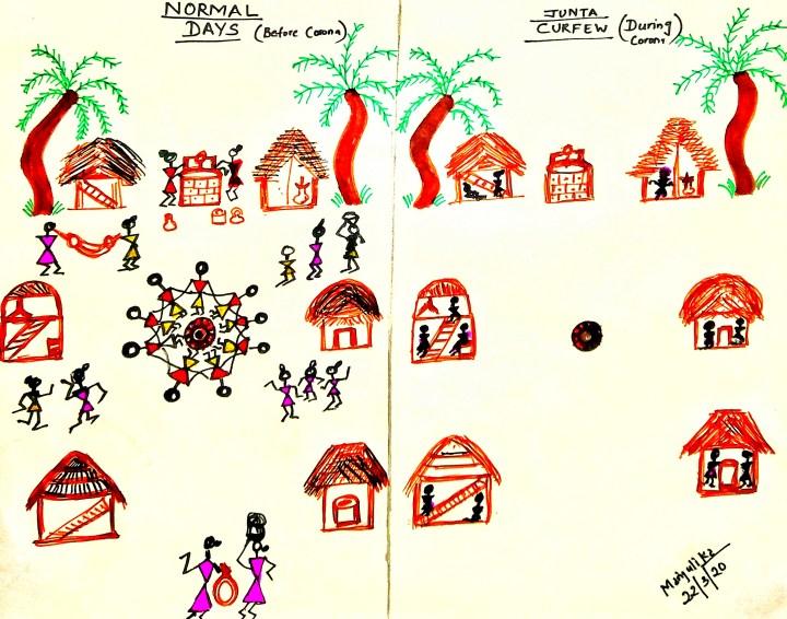 Warli village showing lockdown practice in India.