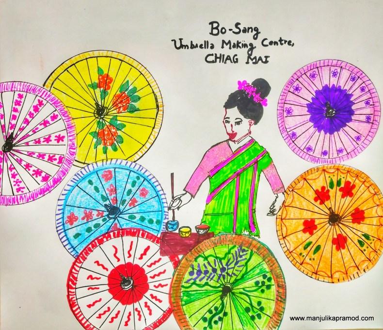 Art work showing Umbrellas making in Thailand