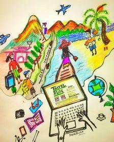 Art work depicting Armchair travel