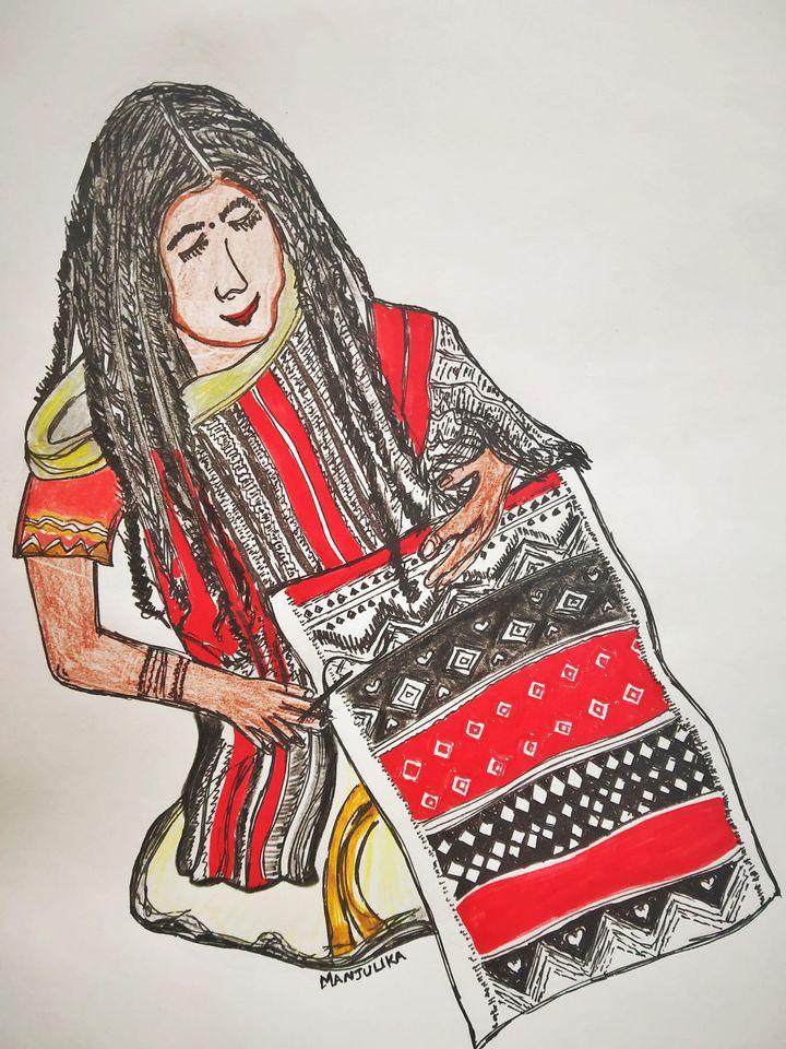 Toda woman weaving a Puthukali