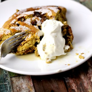 pumpkin pie souffle with candied nuts|www.mannaandspice.com