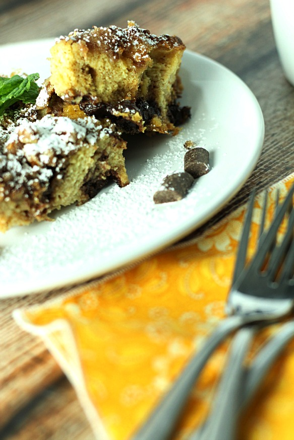 Baked Chocolate Chunk Panettone French Toast|www.mannaandspice.com