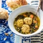Instant Pot Chicken Meatball+Kale Soup| www.mannaandspice.com
