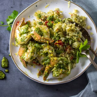 Chimichurri Shrimp With Fried Cauliflower Rice|www.mannaandspice.com