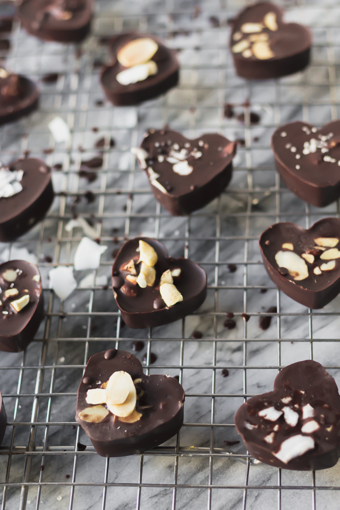 Bite-sized dark chocolate cashew butter filled candy, refined sugar-free, paleo friendly, dairy-free, gluten-free, and vegan|www.mannaandspice.com