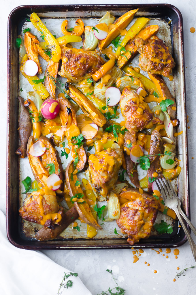 Fresno Chicken Sheet Pan Dinner| www.mannaandspice.com