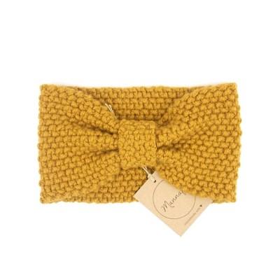 Gestricktes Stirnband aus Wolle und Kaschmir, senffarbe