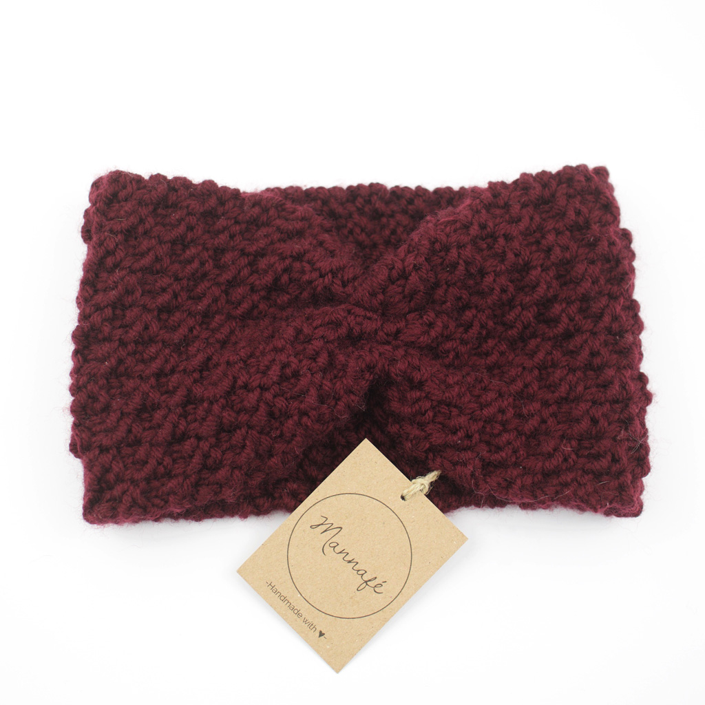 Bandeau tricoté en laine mérinos, bordeaux