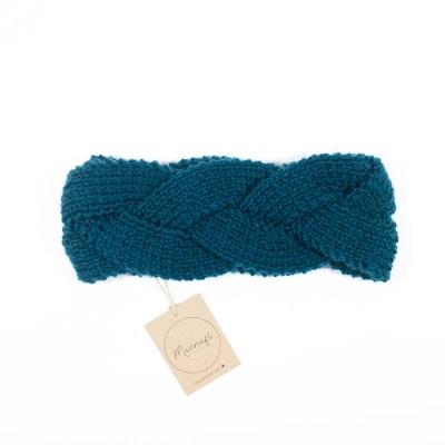 Zopf – gestricktes Stirnband, aus Merinowolle, petrol grün