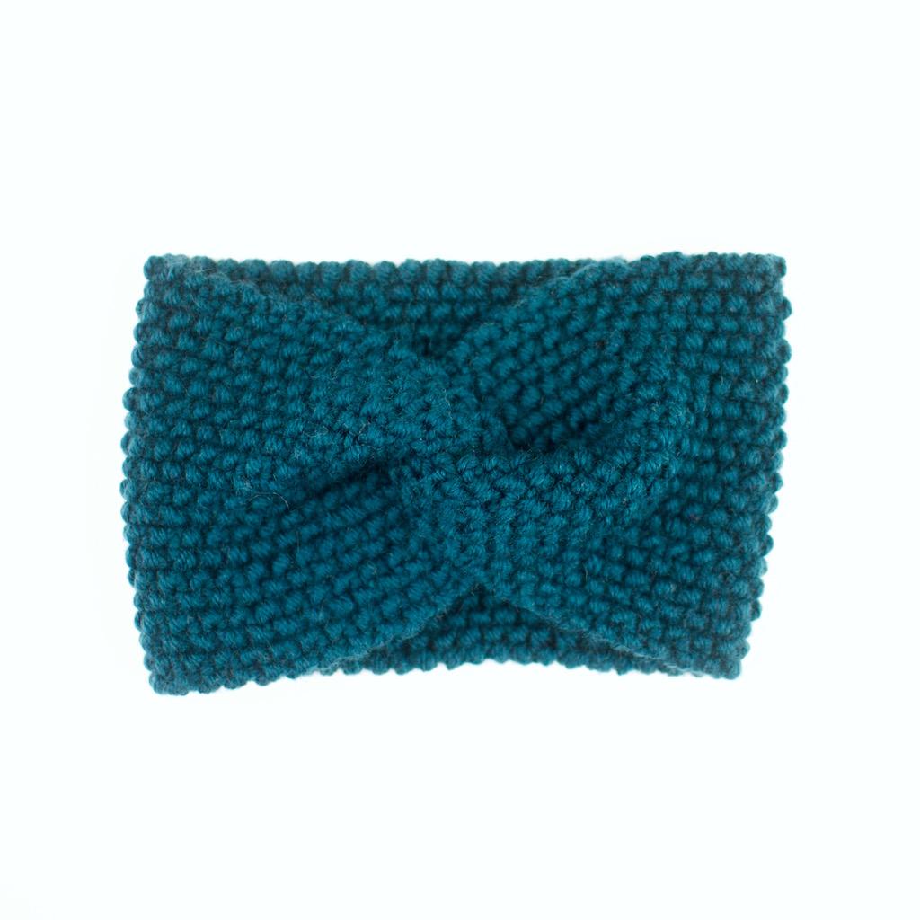 Bandeau croisé, tricoté en laine mérinos, vert canard