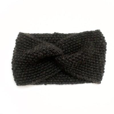 Gestricktes Stirnband aus Wolle und Kaschmir, anthrazitgrau/schwarz