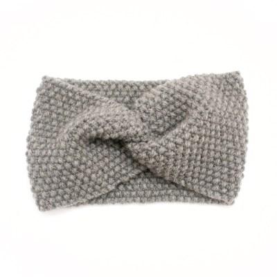 Bandeau croisé, tricoté en laine et cachemire, gris
