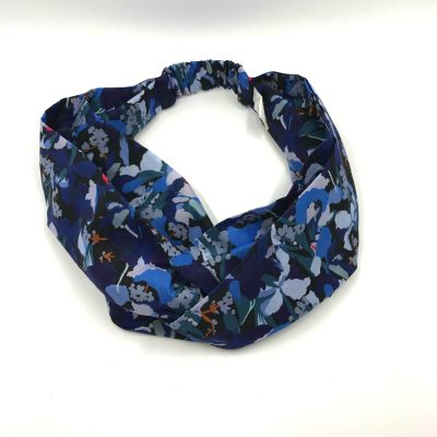 Headband en liberty Camo flower bleu
