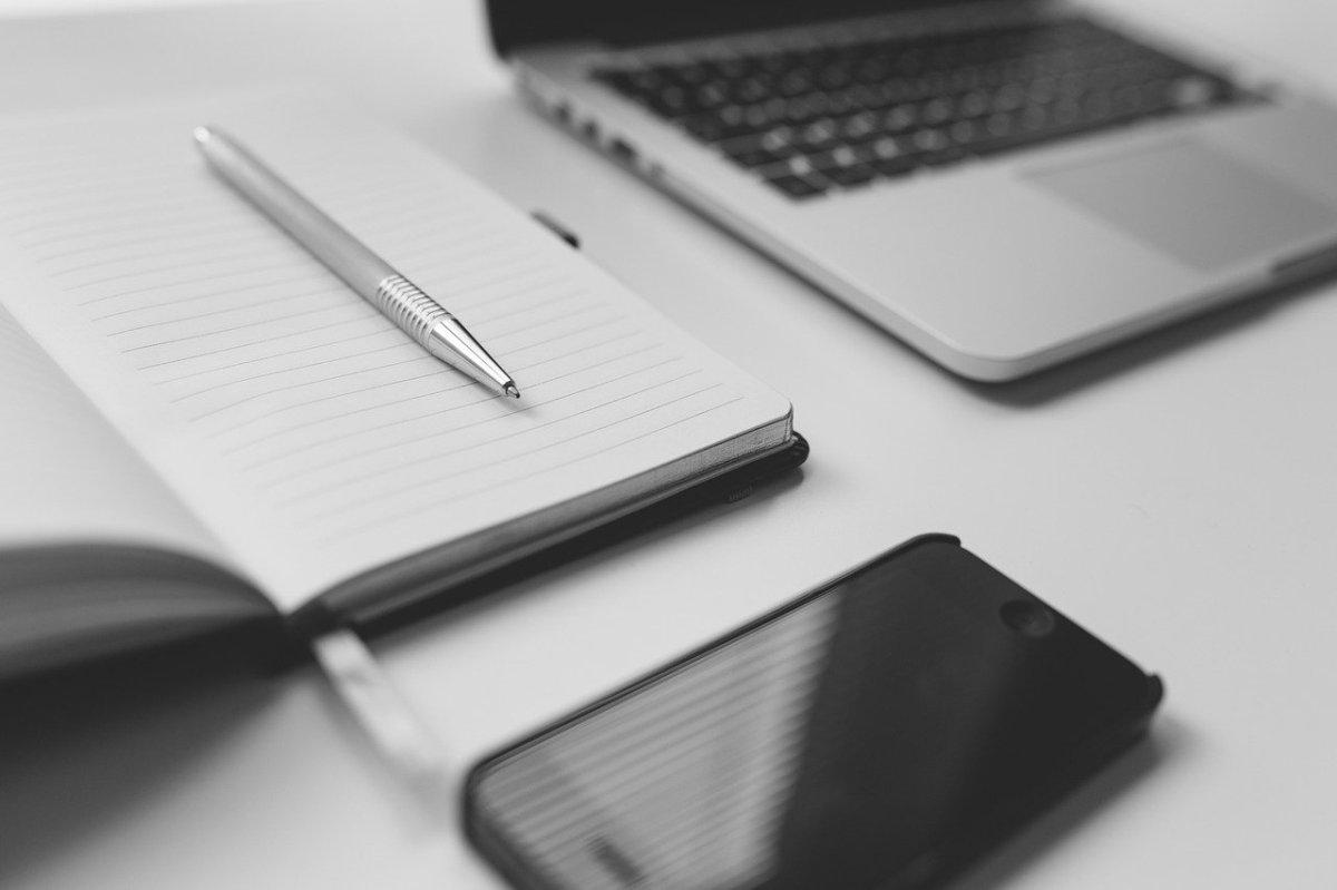 computer, notebook, pen