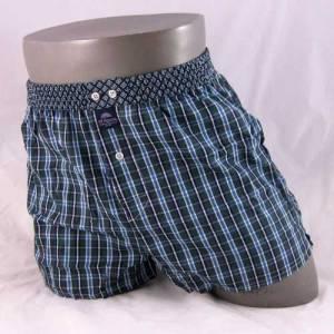 Donkerblauw en donkergroen geruite wijde boxershort van het merk McAlson.