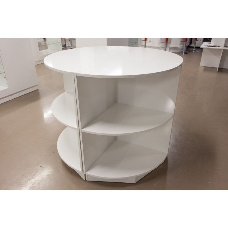 table ronde avec etageres blanches