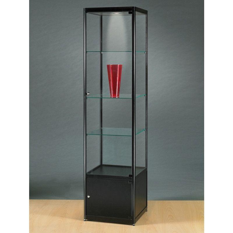 thekenvitrine glas und schwarz metal und halogen