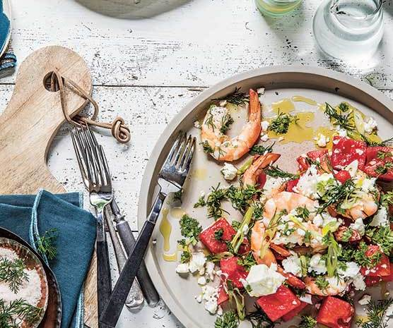 Hot Weather Cool Dishes: Salted Watermelon, Prawn & Feta Salad