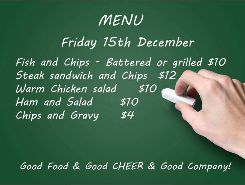 Food menu Friday 15th December