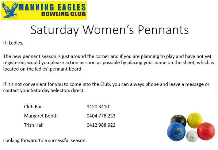 Saturday Womens Pennants
