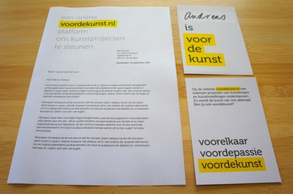 voordekunst letterhead & print pieces