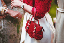 lady with a red bag