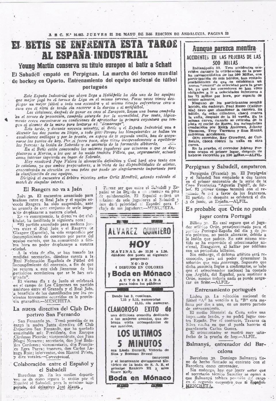 Fuente: ABC 31 de Mayo de 1956