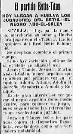 Abdesalam 1930 Previa partido del Titán (NMP) Diario de Huelva 31-08-1930