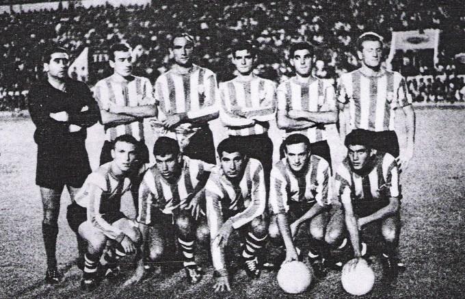 Arriba: Pepín, Aparicio, Ríos, Paquito López -Hidalgo y Suárez; abajo: Breval, Frasco, Ansola, Azcárate y Rogelio. Debut en Heliópolis