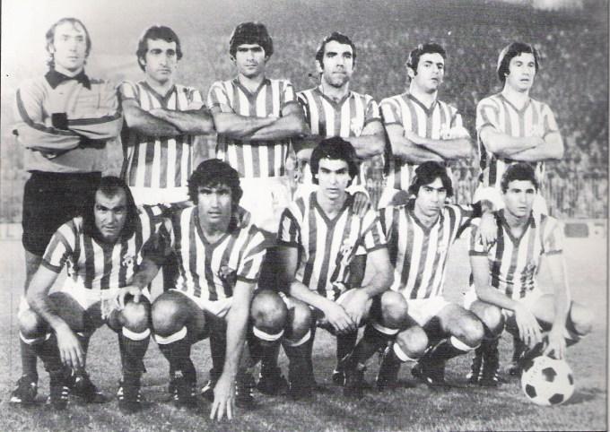 Arriba: Esnaola, Bizcocho, Biosca, Sabaté, Benítez y López; abajo: García Soriano, Alabanda, Eulate, Cardeñosa y Gordillo