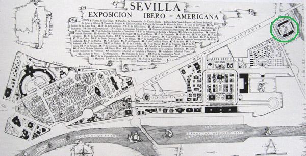 Plano de la exposición Ibero Americana de 1929 y ubicación del Stadium