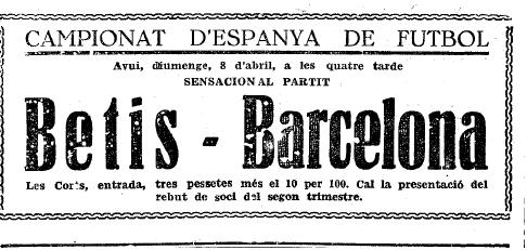 Barcelona-Betis en Les Corts Copa 1934