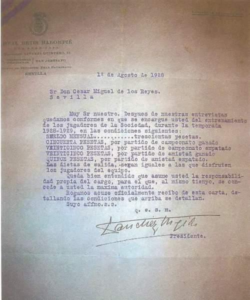 Contrato de César Reyes 1928