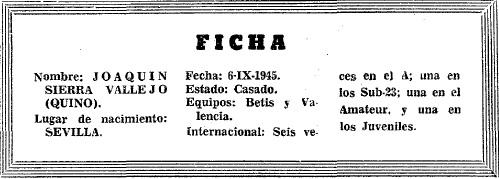Figuras del Fútbol. Joaquín Sierra Quino. trayectoria