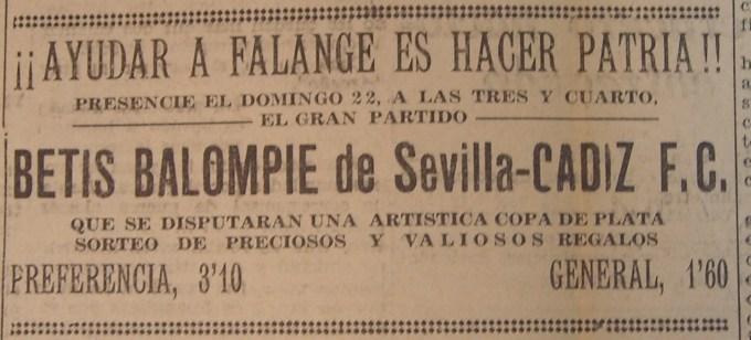 Anuncio Cádiz-Betis Amistoso 1936
