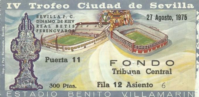 2/4 ABONO IV TROFEO CIUDAD DE SEVILLA-1975.-MI LOCALIDAD.