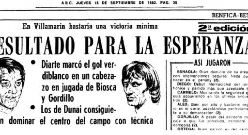 Hoy hace 37 años. Benfica 2 Betis 1 y debut en la Copa de la Uefa.